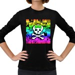 Rainbow Skull Women s Long Sleeve Dark T-Shirt