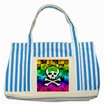 Rainbow Skull Striped Blue Tote Bag