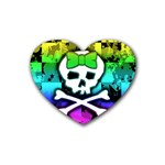 Rainbow Skull Rubber Heart Coaster (4 pack)