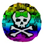 Rainbow Skull Large 18  Premium Round Cushion