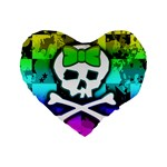 Rainbow Skull Standard 16  Premium Heart Shape Cushion