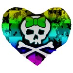 Rainbow Skull Large 19  Premium Heart Shape Cushion