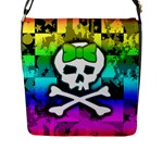 Rainbow Skull Flap Closure Messenger Bag (L)