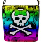 Rainbow Skull Flap Closure Messenger Bag (S)