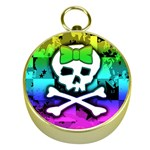 Rainbow Skull Gold Compass