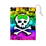 Rainbow Skull Drawstring Pouch (Large)