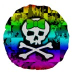 Rainbow Skull Large 18  Premium Flano Round Cushion