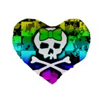 Rainbow Skull Standard 16  Premium Flano Heart Shape Cushion