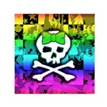Rainbow Skull Small Satin Scarf (Square)