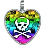 Rainbow Skull Heart Necklace