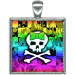 Rainbow Skull Square Necklace