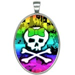 Rainbow Skull Oval Necklace