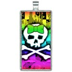 Rainbow Skull Rectangle Necklace