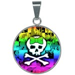 Rainbow Skull 25mm Round Necklace