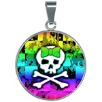 Rainbow Skull 30mm Round Necklace