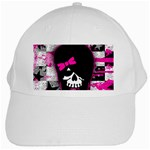 Scene Kid Girl Skull White Cap