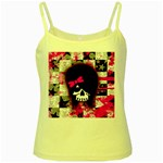 Scene Kid Girl Skull Yellow Spaghetti Tank