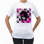 Scene Kid Girl Skull Women s T-Shirt (White) (Two Sided)