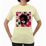 Scene Kid Girl Skull Women s Yellow T-Shirt