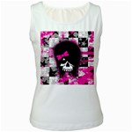 Scene Kid Girl Skull Women s White Tank Top