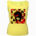 Scene Kid Girl Skull Women s Yellow Tank Top