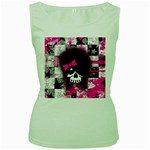 Scene Kid Girl Skull Women s Green Tank Top