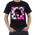 Scene Kid Girl Skull Men s T-Shirt (Black) (Two Sided)