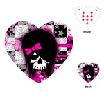 Scene Kid Girl Skull Playing Cards Single Design (Heart)