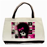 Scene Kid Girl Skull Basic Tote Bag