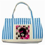 Scene Kid Girl Skull Striped Blue Tote Bag