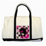 Scene Kid Girl Skull Two Tone Tote Bag