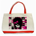 Scene Kid Girl Skull Classic Tote Bag (Red)