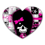 Scene Kid Girl Skull Heart Mousepad