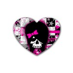 Scene Kid Girl Skull Rubber Heart Coaster (4 pack)