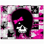 Scene Kid Girl Skull Canvas 11  x 14