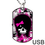 Scene Kid Girl Skull Dog Tag USB Flash (One Side)