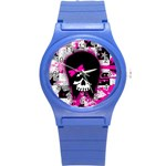 Scene Kid Girl Skull Round Plastic Sport Watch (S)