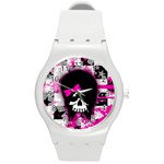 Scene Kid Girl Skull Round Plastic Sport Watch (M)