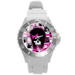 Scene Kid Girl Skull Round Plastic Sport Watch (L)