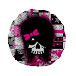 Scene Kid Girl Skull Standard 15  Premium Round Cushion