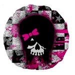 Scene Kid Girl Skull Large 18  Premium Round Cushion