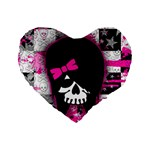 Scene Kid Girl Skull Standard 16  Premium Heart Shape Cushion