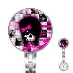 Scene Kid Girl Skull Stainless Steel Nurses Watch