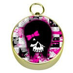 Scene Kid Girl Skull Gold Compass