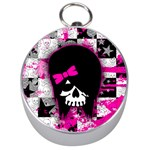 Scene Kid Girl Skull Silver Compass