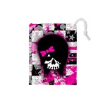 Scene Kid Girl Skull Drawstring Pouch (Small)