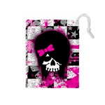 Scene Kid Girl Skull Drawstring Pouch (Medium)