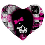 Scene Kid Girl Skull Large 19  Premium Flano Heart Shape Cushion
