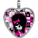 Scene Kid Girl Skull Heart Necklace