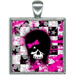 Scene Kid Girl Skull Square Necklace